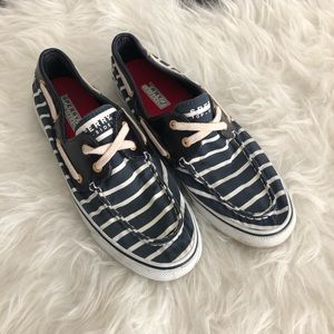 sperry top sider womens boat shoe. Stripe canvas